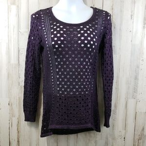 Rock & Republic Women Sweater Black Purple Sparkle